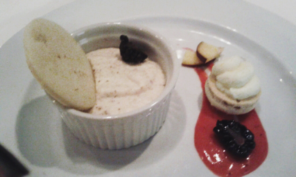 White chocolate spiced mousse with petite macaron