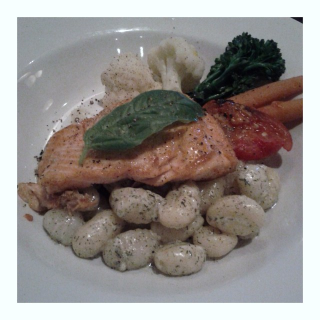 Salmon with maple ginger glaze, dill gnocchi and seasonal vegetables
