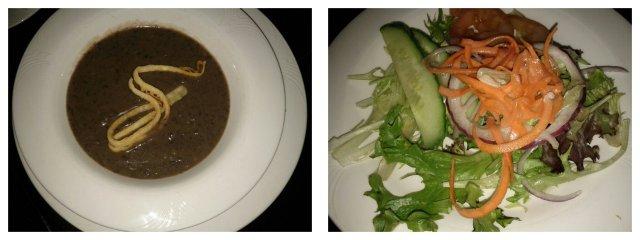Black Bean Soup and Organic Mixed Green Salad