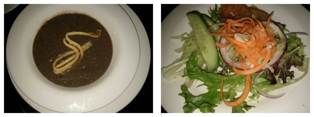 Black Bean Soup and Organic Mixed Green Salad