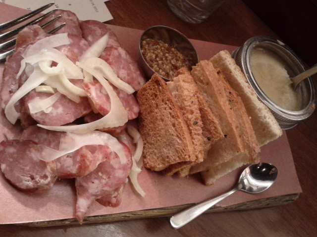 Pork Kielbasa and Pickle Preserved Fennel with a Trout Rillette and House Made Crostinis