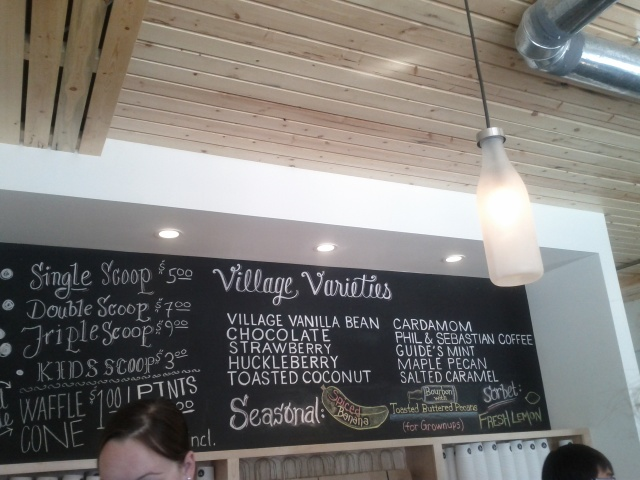 Menu Board at Village Ice Cream