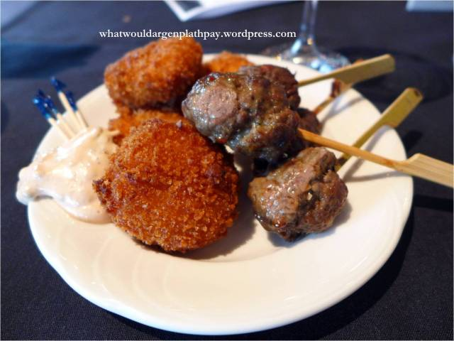 Crab Cakes and Beef Skewers