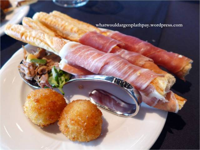 Proscuitto Breadsticks, Duck Spoon, and Arancini