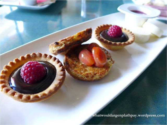 Charcuterie Board with Chocolate Ganache Tarts and Onion Tarts