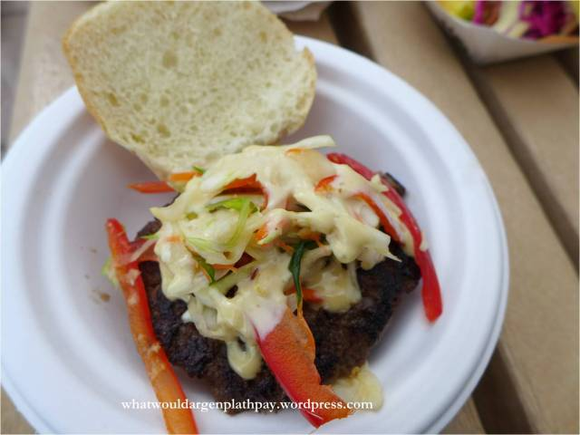 The Act Ginger Beef Slider – a homemade ginger-spiced beef patty with a daikon and carrot slaw and sesame soy mayo