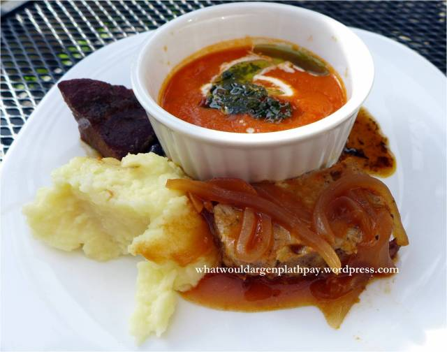 The Bothy: Lorne Meatloaf, Sous Vide Beef Cheeks, Tomato and Bacon Soup, Mashed Potatoes