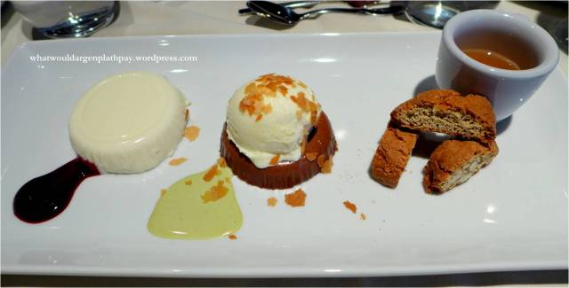 Massimo's Cucina Italiana - Panna Cotta, Caramel & Chocolate Mousse, Cantuccini Biscuits with sweet Vin Santo wine.