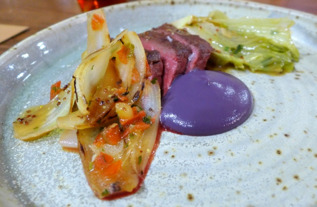 Beef Heart, Red Leaf Lettuce Heart, Charred Onions, Mustard Jus, Purple Carrot Puree