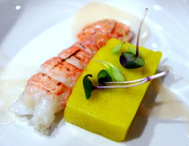Langostine, Golden Beet Sponge, Pureed Pickled Beets, Radish and Daikon Microgreens