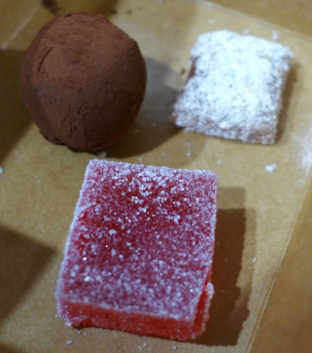 Petit Fours - Sour Cherry Gummy, Smoked Alder Chanterelle Mushroom Chocolate Truffle, Popcorn Caramel