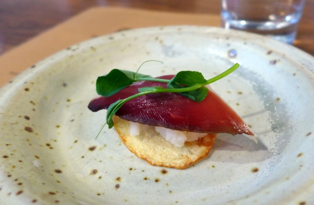 Potato Chip, Smashed Russet Potato, Yeast Puree, Dehydrated Olive, Duck Prosciutto, Pea Tendril