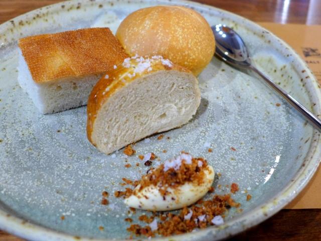 Pretzel Bread, Rosemary Focaccia, Potato Bun, Brown Butter with Bacon and Maldon Salt