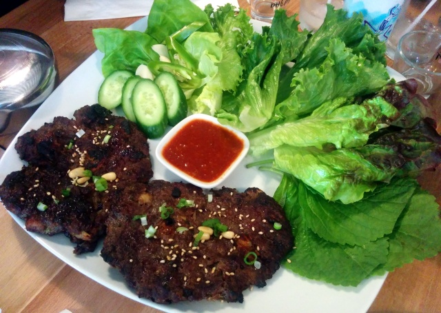 DdukGalbi Ssam -Lettuce Wraps with Ribeye and Dduk Patties