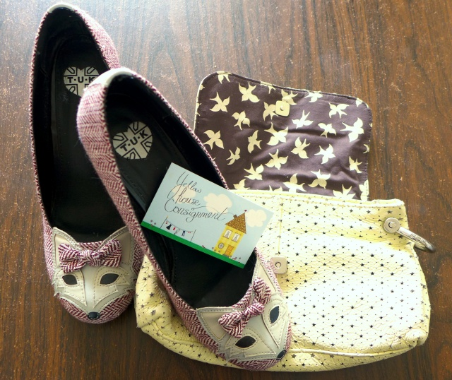 My Yellow House Consignment Purchases: T.U.K. Foxy Herringbone Heels and a small Gap purse
