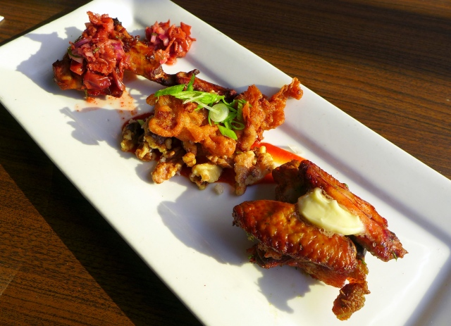 Wings 'n Things: Dill Pickle Chicken Wings, Sweetbreads with Sriracha Walnuts, Rabbit Wings with Hot Chilis and Cherries