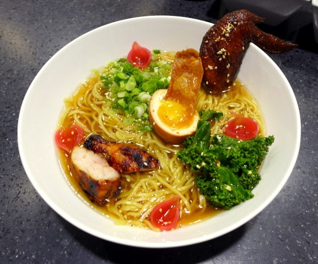 Barley Chicken Ramen - Shoyu broth with chicken done three ways (deep fried chicken wing, grilled chicken thighs and a crispy piece of chicken skin) with pickled onions and kale