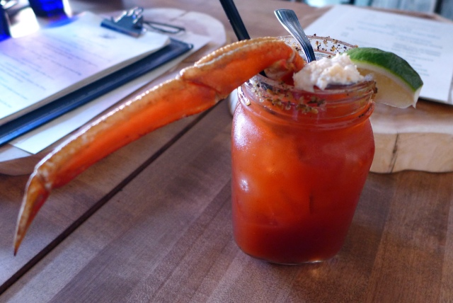 Black Pearl Caesar: Smirinoff vodka, Tabasco, Worcestershire, Bitter Truth Creole bitters, Bitter Sling cascade celery bitters, crab leg and celery