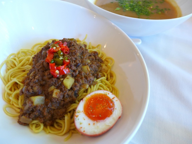 Meat and Potatoes Tsukemen - Ground beef (dan dan style) with chilis and an umeboshi egg along with a tangy potato dipping broth