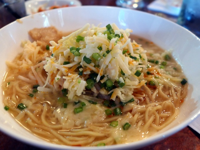 Vegetarian Ramen - Chinese style vegetable broth with miso, garlic and tonnes of shredded Sylvan Star Gouda