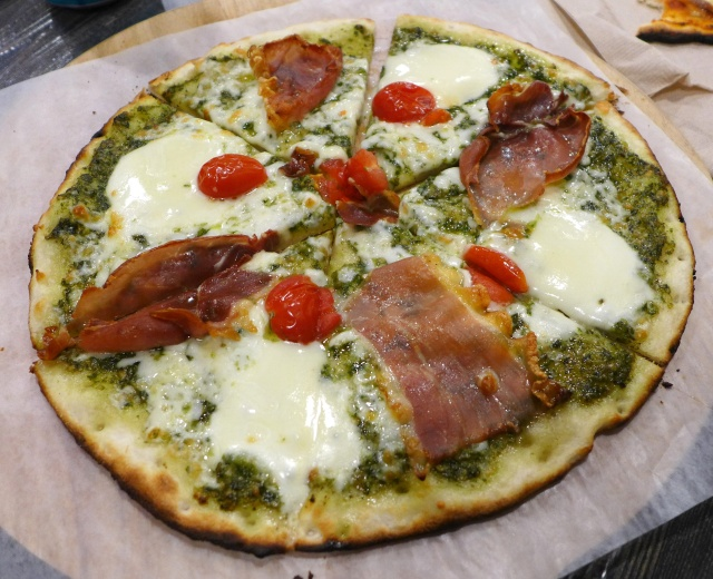 Pesto and Prosciutto Pizza