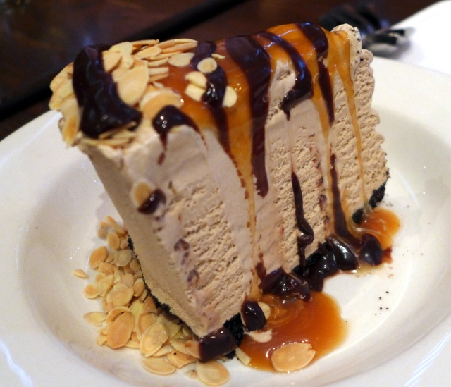 Billy Miner Pie: Mocha ice cream on a chocolate crust with hot fudge, caramel and almonds.