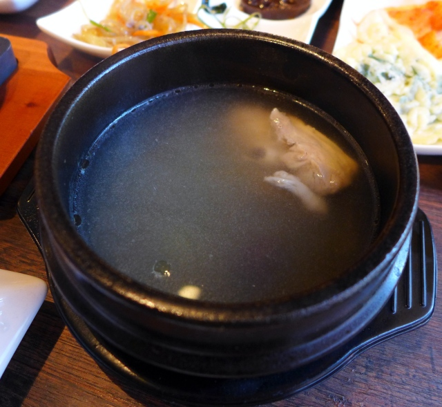 Samgyetang: Braised quarter chicken in a Korean ginseng broth