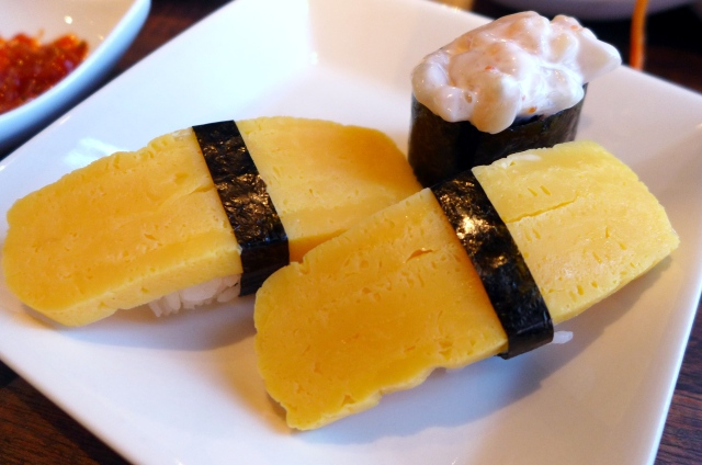 Tamago (sweet egg) sushi and chop chop sushi