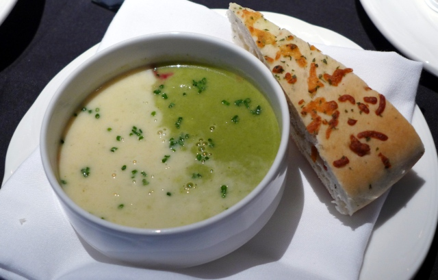 Cream of Celery Soup with Dual Coloured Beets and Focaccia from Chateau Nova