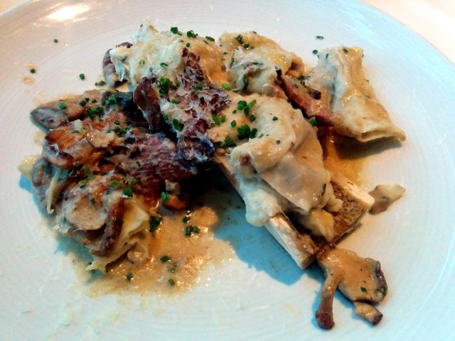 Bone Marrow Agnolotti - Wild Mushrooms, Celery Root Puree, Brown Butter, Pecorino