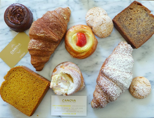 Canova Pastries (from bottom left): Pumpkin Loaf, Nutella Brownie, Nutella Stuffed Croissant, Strawberry Danish, Almond Cookies (Gluten Free), Banana Bread, Vanilla Cornetti, Vanilla Danish.
