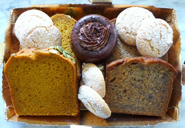 Tray of Pumpkin Loaf, Banana Bread, Almond Cookies and a Nutella Brownie