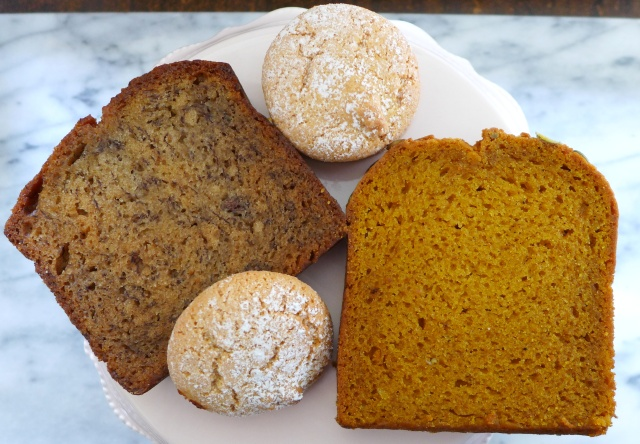 Banana Bread, Pumpkin Loaf and Almond Cookies