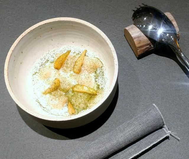 Raw scallop with buttermilk cream, horseradish oil, green strawberry and dried lemon verbena