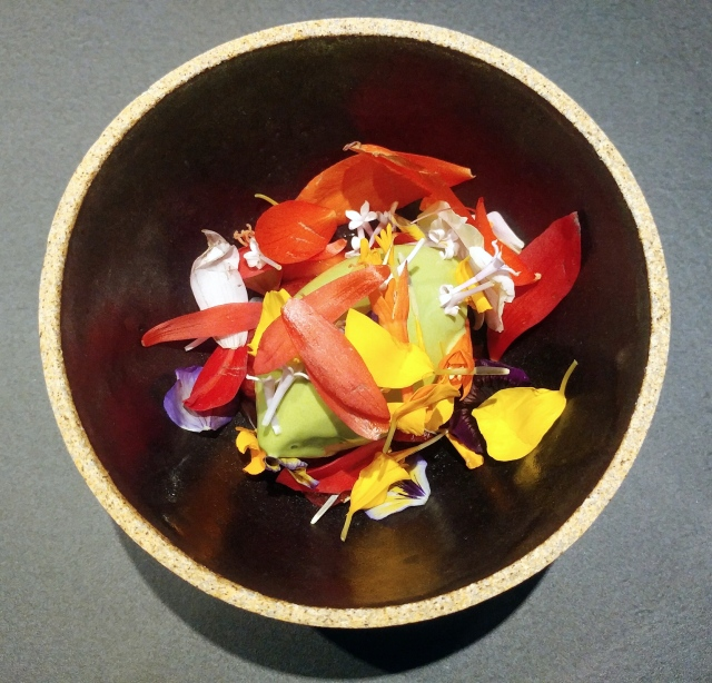 First of the strawberries compressed in strawberry juice, lovage ice cream and in season flowers