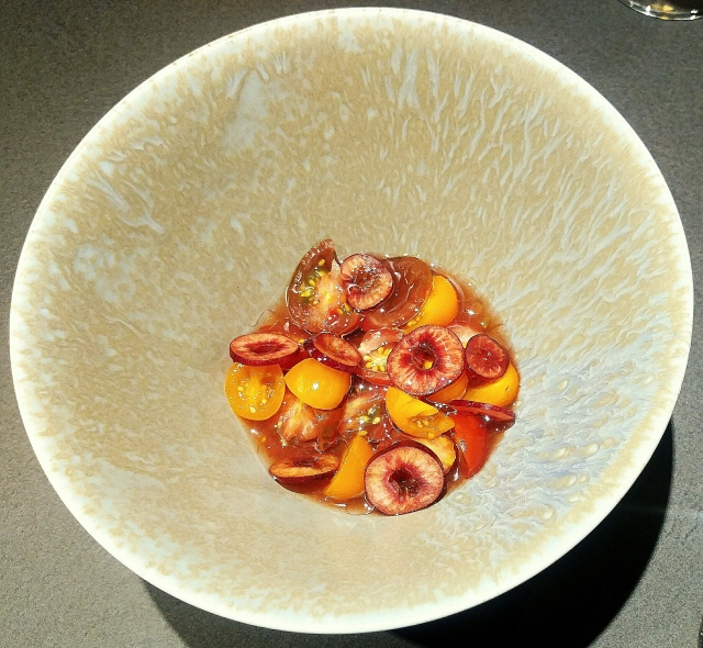Tomato, rainier cherries, tomato water, sour cherry juice, dried fermented cherries, dried rosehips, rosehip vinegar and rose oil
